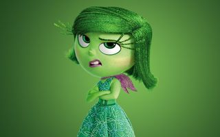 Картинка Inside Out, adventure, Pixar Animation Studios, Walt Disney Studios Motion Pictures, green, hana, dress, Disgust, 2015, girl, chibi, face, five emotions, scarf, flowers