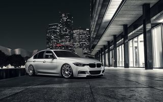 Картинка BMW, Alpine, City, Nigth, White, Wheels, 328i, Front, F30, VMR