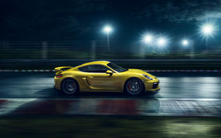 Обои Porsche, Nigth, Supercar, 2015, Cayman, Ligth, GT4, Speed, Side, Yellow, Track