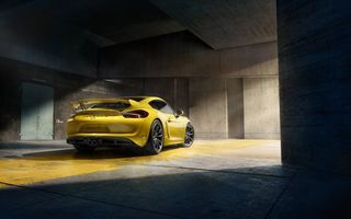 Картинка Porsche, GT4, Supercar, 2015, Rear, Yellow, Cayman, Parking