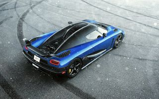 Обои Koenigsegg, View, Supercar, HH, Blue, Agera, Snow, Rear, Top