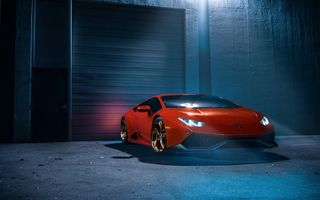 Обои Lamborghini, Supercar, Wheels, Orange, Huracan, Smoke, White, Ligth, Front, Color, LP610-4