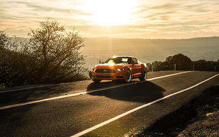 Обои Ford, Aristo Collection, Orange, Sunset, 2015, California, Mustang, Sun, Landscape, Mountains