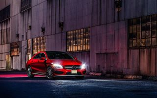 Обои Mercedes-Benz, Ligth, Red, Front, AMG, Nigth, CLA45, Car