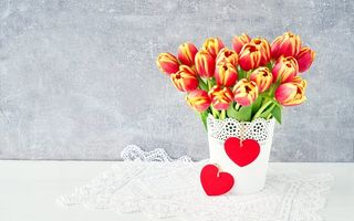 Картинка любовь, romantic, beautiful, букет, тюльпаны, tulips, сердце, colorful, flowers, цветы, red, spring, valentine's day, love