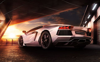 Обои Lamborghini, Sunset, Beauty, LP700-4, Sky, Reflection, Rear, Aventador, Supercar