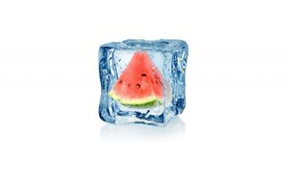 Обои арт, куб, frozen, white, капли, ice, watermelon, , льда, water, 3d, cube, fruit, воды, абстракция, арбуз, drops