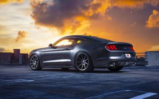 Картинка Ford, Wheels, Mustang, Sky, Car, Clouds, Velgen, Rear, Muscle, 2015, Sunset