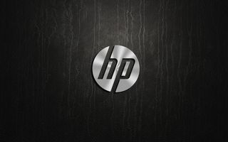 Обои HP, logo, metal