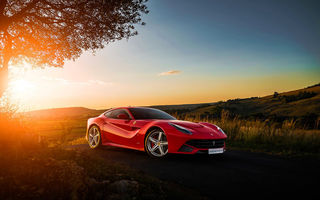 Обои Ferrari, F12, Supercar, Africa, South, Red, Sky, Sunset, Front, Ligth, Berlinetta