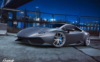 Картинка Lamborghini, Huracan, by Gurnade, Grey, Wheels, Front, Nigth, LP640-4, City, Supercar, HRE