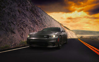 Обои Dodge, 2015, SRT, Hellcat, Clouds, American, Front, Car, Charger, Route