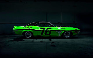 Картинка Dodge, Muscle, Race, American, Car, Dark, Side, Green, Challenger