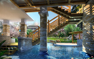 Обои decoration, water, stairs, wood, columns, stone, pond