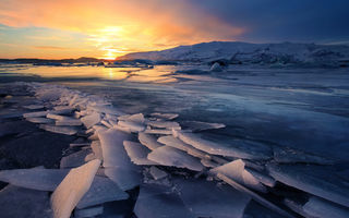 Картинка Glacier, Freeze, Sunsets, Ice, Iceland, Landscapes, Winter