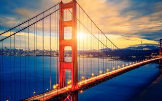 Картинка city, sea, bridge, United States of America, USA, San Francisco, clouds, Golden Gate Bridge, sunset, cityscape, California, landscape, bay, sky, lights