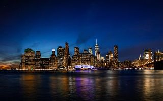 Картинка city, skyline, lights, Brooklyn Bridge, Manhattan, USA, river, New York, water, night, reflection, NYC, building, twilight, New York City, Empire State Building