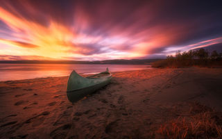 Картинка canoe, beach, sunset, Norway