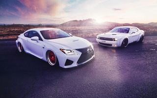 Картинка Lexus, White, Challenger, Dodge, RC350, Sport, Stance, Walk, Cars, Front, Liberty, Sunset