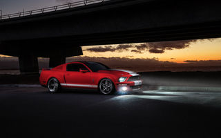 Обои Ford, Muscle, Sunset, Car, Mustang, Collection, Front, GT500, Aristo, Red, Shelby