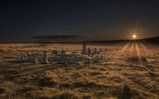 Картинка Dartmoor National Park, sunrise, Stone Circle
