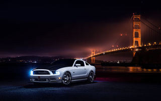 Обои Ford, Mustang, Collection, Bridge, Car, Front, Muscle, Aristo, White, Nigth
