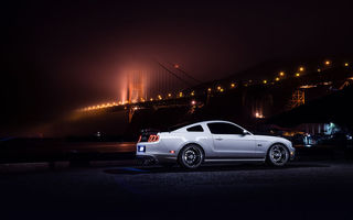 Обои Ford, Collection, Car, Smog, Bridge, Aristo, Nigth, White, Mustang, Muscle, Rear
