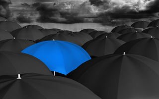 Обои umbrella, blue, black, many