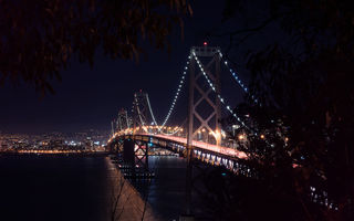 Картинка San-Francisco, Scape, City, Nigth, West, Bay Bridge, Architecture, Landscape