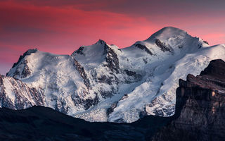 Картинка Mont Blanc, Mountain, Beauty, Sky, Clouds, Snow, Landscape, Samöens, Pink, View