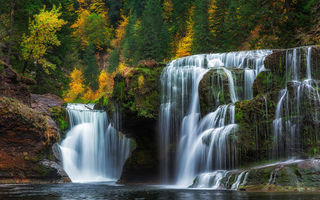 Обои Lower Lewis River Falls, каскад, Lewis River, осень, штат Вашингтон, водопад, лес, Washington, река Льюис