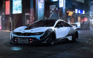 Обои BMW, Night, White, Race, City, i8, Tuning, Car, Future, by Khyzyl Saleem