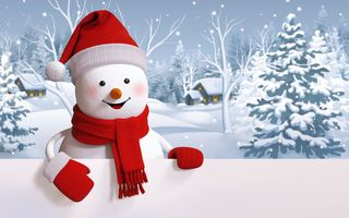 Обои snowman, happy, winter, снеговик, cute, snow