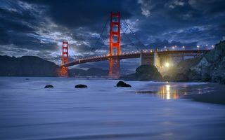 Картинка San Francisco, golden gate bride, Marshall Beach, Rush Waves