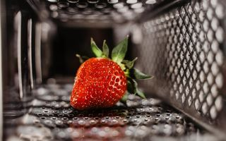 Картинка berry, macro, close-up, mesh, red, metal, strawberry, fruit, food, 5k hd, blur, bokeh