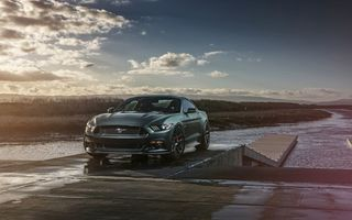 Обои Ford, Wheels, Mustang, Car, Front, 2015, Muscle, GT, Sunset, Velgen
