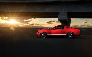 Обои Ford, Red, Sunset, Shelby, GT500, Muscle, Car, Mustang, Collection, Side, Aristo