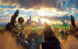 Картинка fantasy, beauty, clouds, magic, oz the great and powerful, air baloon, rock, 2013 movie, story
