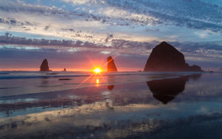 Обои oregon, орегон, cannon beach, pacific ocean, тихий океан, haystack rock, скалы