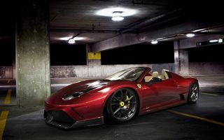 Обои night, спайдер, supercar, car, 458, spider, ferrari, avto, феррари, parking, red