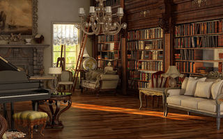 Обои victorian, book, read, nice, wood, books, library, wide, table, room, vine