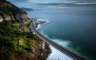 Картинка bridge, mountain, ocean, road
