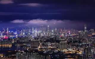 Картинка Hong Kong, Aerial View, Night, Modern Architecture, Skyscrapers