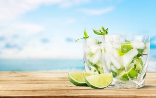 Обои коктейль, paradise, cocktail, tropical, мохито, mint, lime, summer, drink, fresh, mojito, beach, sea, vacation