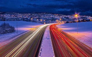 Картинка дорога, winter, lights, roads, trondheim, зима, norway, выдержка, норвегия