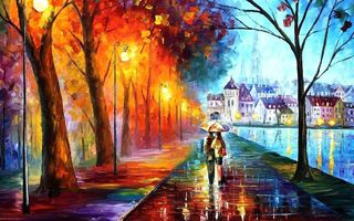 Картинка umbrella, couple, autumn, painting