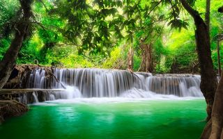 Картинка river, водопад, waterfall, water, emerald, forest, flow