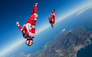 Картинка headdown, Will Penny, freefly, freestyle, Yohann Aby, freeflying, skydiving, Extreme Sport, training, flying, skydivers