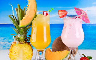 Картинка drink, фрукты, fruits, tropical, ананас, коктейль, cocktail