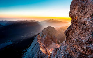 Картинка sunrise, Torsten muehlbache, mountain, landscape, Germany, places, hiking, Red, blue, travel